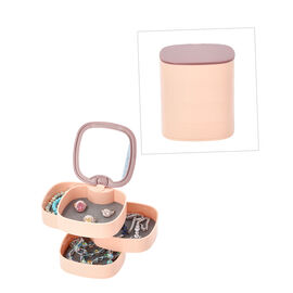 360 Degree Rotatable Four Layer Jewellery Organiser with Mirror (Size 11x12cm) - Dusty Pink and Plum