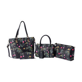 Set of 5 - Flower and Butterfly Pattern Tote Bag (29x12.5x30cm), Convertible Bag (27.5x13x19cm), Cro