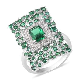 Simulated Paraiba Spinel (Oct), Simulated Diamond Ring in Silver Plated