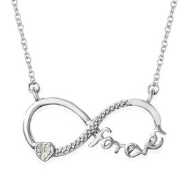 Diamond Infinity Necklace (Size 18) in Platinum Overlay Sterling Silver