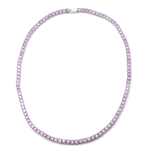 Simulated Amethyst Tennis Necklace (17) in Silver Tone