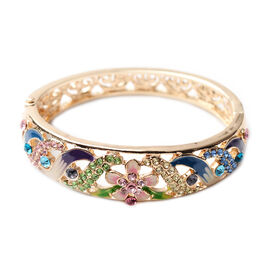 Multi Colour Crystal Enamelled Bangle (Size 7) in Gold Tone