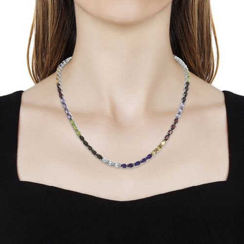 Amethyst (Ovl), Sky Blue Topaz, Brazilian Smoky Quartz and Multi Gemstone Necklace (Size 18) in Platinum Overlay Sterling Silver 32.000 Ct. Silver wt 19.06 Gms.