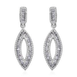 0.50 Carat Diamond Drop Earrings in Platinum Plated Sterling Silver