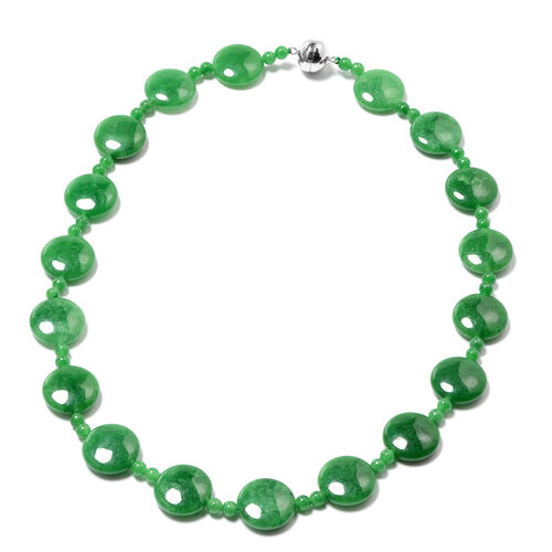 Green Jade Necklace (Size 20) with Magnetic Lock in Rhodium Overlay Sterling Silver 344.00 Ct.