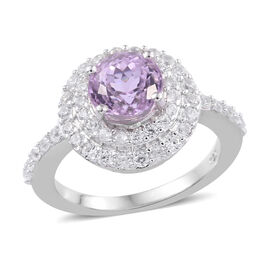 2.50 Carat Kunzite and Cambodian Zircon Halo Ring in Platinum Plated Sterling Silver