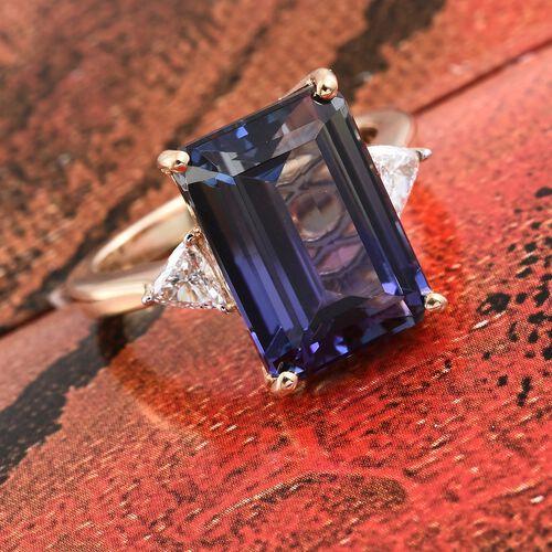 ILIANA 18K Yellow Gold Peacock Tanzanite (Oct 10.05 Ct), Diamond Ring 10.350 Ct.
