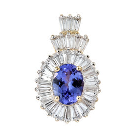 3.37 Carat AA Tanzanite and Natural Cambodian Zircon Crown Pendant in 9K Gold
