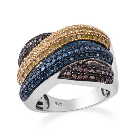 Multi Colour Diamond (Rnd) Criss Cross Ring in Platinum, Blue, Black and Gold Overlay Sterling Silve