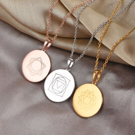 Personalised Engraved Name and Chakra Disc with Chain in Silver