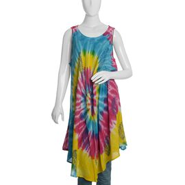 Yellow and Multi Colour Tie and Die Umbrella Dress (Size 116x132 Cm)