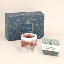 Close Out Deal Fruit Temptation Fragrance Candle Cup with 4 Small Candle - Green