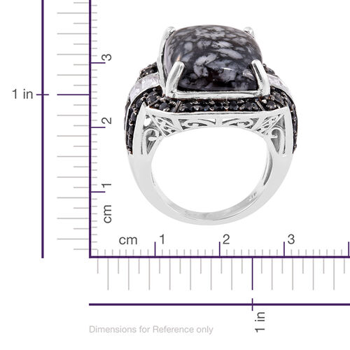Austrian Pinolith (Oct 20.40 Ct), Boi Ploi Black Spinel and White Topaz Ring in Platinum Overlay Sterling Silver 24.500 Ct.