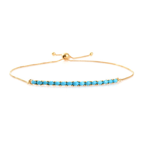Preview Auction- Arizona Sleeping Beauty Turquoise (Ovl) Adjustable Bracelet (Size 6.5 to 9.5 Inch) in 14K Gold Overlay Sterling Silver 1.000 Ct.