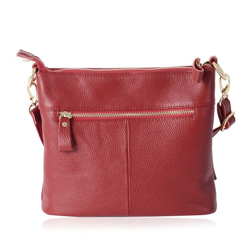 Super Soft 100% Genuine Leather Sassy Red Colour Cross Body Bag with Adjustable and Removable Shoulder Strap (Size 23x20x7.5 Cm)