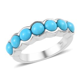 2 Carat Arizona Sleeping Beauty Turquoise 7 Stone Ring in Platinum Plated Silver