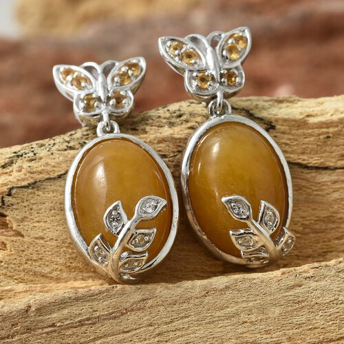 Yellow Jade (Ovl), Citrine and Natural Cambodian Zircon Nature Inspired Earrings (with Push Back) in Platinum Overlay Sterling Silver 14.750 Ct. Silver wt 5.34 Gms.
