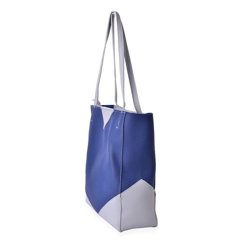NEW SPRING COLLECTION Blue and Light Grey Colour Tote Bag (Size 32x27x12 Cm)