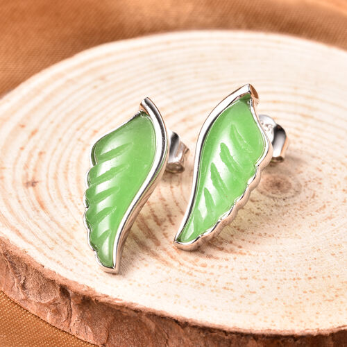 Isabella Liu Angel Wing Collection - Carved Green Jade Earrings (with Push Back) in Rhodium Overlay Sterling Silver 6.99 Ct.