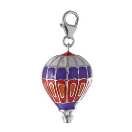 Platinum Overlay Sterling Silver Enamelled Parachute Charm