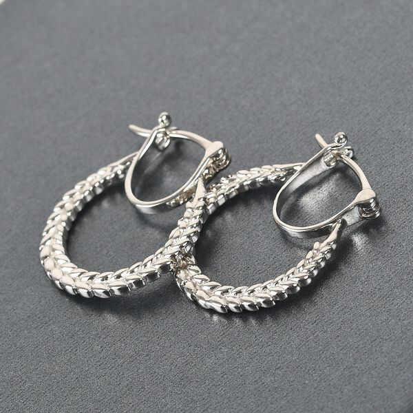 MP Platinum Overlay Sterling Silver Olive Leaf Hoop Earrings (with Clasp)