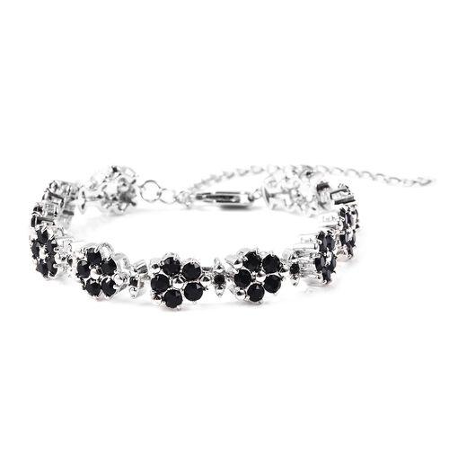 J Francis Black Crystal from Swarovski Floral Bracelet in Silver Tone 8 Inch