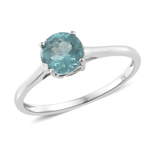 9K White Gold AA Paraibe Apatite (Rnd) Solitaire Ring 1.000 Ct.