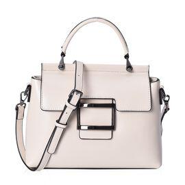 100% Genuine Leather Cream Colour Bag (Size 26x10x20.5 Cm) with Detachable Shoulder Strap (113 Cm) a