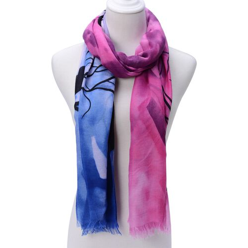 Black Colour Tree Pattern Pink and Blue Colour Scarf (Size 180x95 Cm)