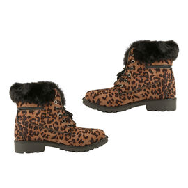 Leopard Print Women Lace Up Ankle Boots in Mustard Colour