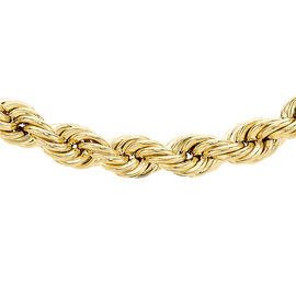 9K Yellow Gold Rope Chain (Size 20) with Lobster Clasp, Gold wt 14.70 Gms