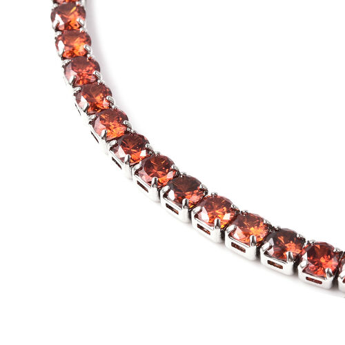 Simulated Ruby Tennis Necklace (Size 18) in Silver Tone