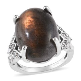 10.31 Ct Natural Bokonaky Fire Labradorite and Zircon Solitaire Ring in Platinum Plated Silver