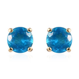 9K Yellow Gold Neon Apatite Stud Earrings (with Push Back) 0.50 ct.