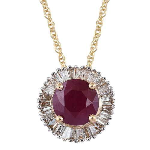 ILIANA 18K Y Gold AAAA Burmese Ruby (Rnd 1.00 Ct), Diamond (SI/G-H) Pendant with Chain 1.250 Ct.