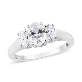 J Francis - Sterling Silver (Ovl) Ring Made with SWAROVSKI ZIRCONIA