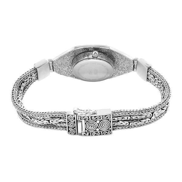 Royal Bali Collection - EON 1962 Swiss Movement Water Resistant 4 Row Tulang Naga and Borobudur Bracelet Watch (Size 6.5) in Sterling Silver, Silver wt 41.00 Gms