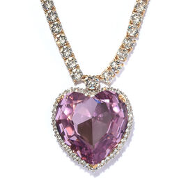 J Francis - Crystal from Swarovski Rose Pink Crystal (Hrt 28 mm), White Crystal Necklace (Size 18) in 14K Gold Overlay Sterling Silver, Silver wt 34.04 Gms