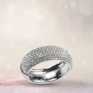 'White Austrian Crystal Bangle In Silver Tone