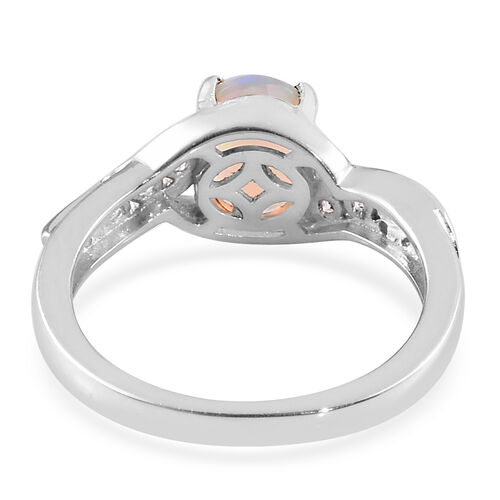 Ethiopian Welo Opal and Natural Cambodian Zircon Bypass Ring in Platinum Overlay Sterling Silver 0.93 Ct.