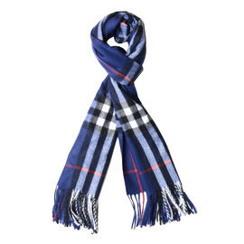Navy Colour Chequer Pattern Shawl with Tassels (Size 180x70 Cm)