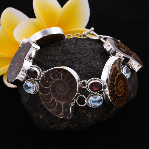 Royal Bali Collection - Ammonite, Sky Blue Topaz and Mozambique Garnet Bracelet (Size 5.5 with 0.5 inch Extender) in Sterling Silver 11.80 Ct., Silver wt 26.54 Gms