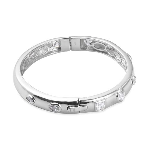 J Francis Platinum Overlay Sterling Silver Bangle (Size 7.5) Made with SWAROVSKI ZIRCONIA 9.61 Ct, Silver wt. 30.10 Gms
