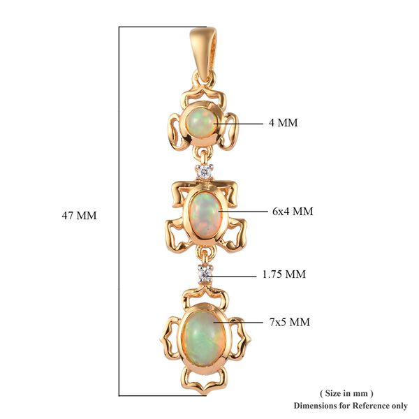 AA Ethiopian Welo Opal and Natural Cambodian Zircon Pendant  in 14K Gold Overlay Sterling Silver 1.15 Ct.