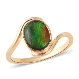 2 Carat Canadian Ammolite Solitaire Ring in Gold Plated Sterling Silver