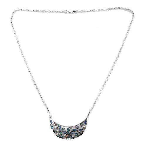Royal Bali Collection Abalone Shell Crescent Moon Pendant Necklace (Size 20) in Sterling Silver, Sil