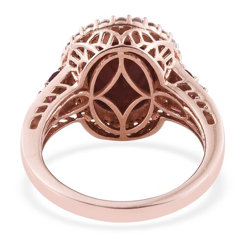 Red Jade (Ovl 6.90 Ct), Natural Cambodian Zircon and Rhodolite Garnet Ring in Rose Gold Overlay Sterling Silver 8.250 Ct. Silver wt. 6.64 Gms.