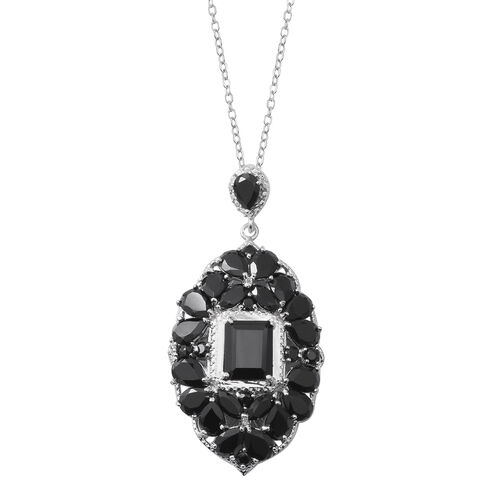 Red Carpet Collection-Boi Ploi Black Spinel (Oct) Pendant With Chain (Size 18) in Rhodium Overlay Sterling Silver 24.540 Ct, Silver wt 10.91 Gms.
