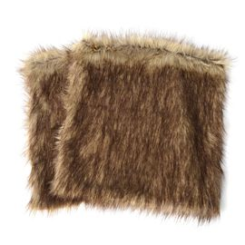 2 Piece Set - Faux Fur with Reverse Mink Cushion Cover - Brown Bear (Size 45.72x45.72 Cm)