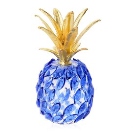 Crystal Decorations - Crystal Pineapple (Size 10x5.5 Cm) - Blue and Gold